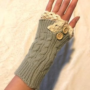 Hand warmers - grey with lace, handmade